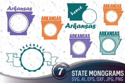7 Arkansas Monograms - cutting files SVG, JPG, PNG, DXF, EPS, AI