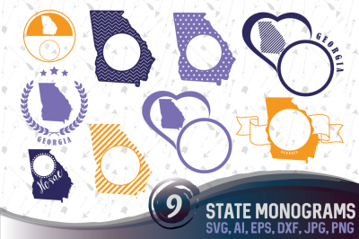 9 Georgia State Monograms - SVG, EPS, PNG, AI, DXF