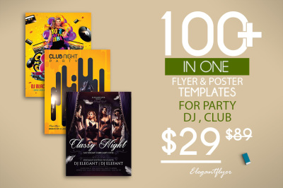 100+ Proffesional Flyer Templates for Photoshop  | Party | Club | Music | Dj | Poster|  Invitation cards | Design Flyer | Instant Download