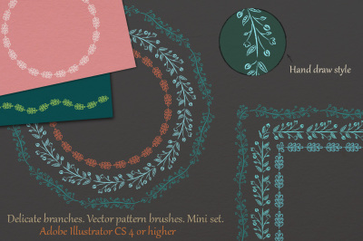 Delicate branches. Vector pattern brushes. Mini set.