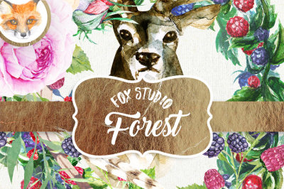 Deer Forest Clip Art Antlers Digital Pack Woodland Christmas Fawn Reindeer Watercolor Floral Illustration Planner Supplies DIY Pack