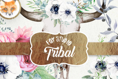 Bohemian Wild Elements Watercolor - Bull skull, Boho watercolor CLIPART, Tribal bull, Bohemian cliparts, Flower invites, DIY invitations