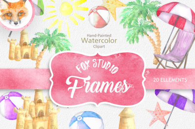 ON SALE, Summer clipart, Beach clipart, Digital Clipart, Watercolor Summer Clipart, Summer Papers, Hello Summer Clipart, Beach Clipart