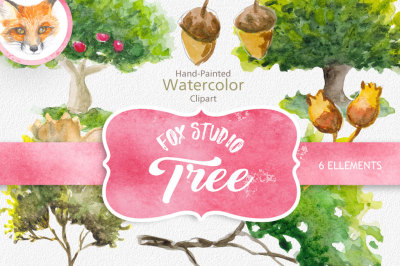 Forest Watercolor Trees Clipart. BOHO, Hand painted Watercolour floral, invitation, DIY elements, invite, greeting card