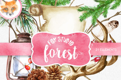 Watercolor clipart. Forest mood. Hand Drawn Christmas elements. Wedding invitations, greeting card, diy, transparent png.