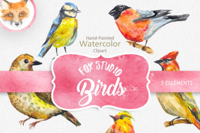 Digital Watercolor Birds Clip Art