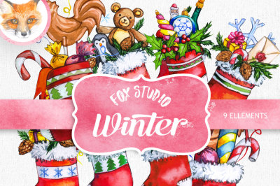 Clip art, Socks, Christmas clipart, watercolor clipart, gift, snow, elk deer, winter, printable, scrapbooking, illustration