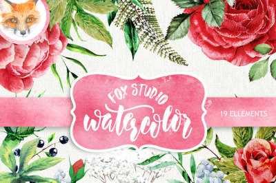 Wedding Watercolor Flowers&2C; English Roses&2C; Brunia&2C; Fern&2C; Leaves Eucalyptus&2C; Hand painted clipart&2C; invitations&2C; greeting card&2C; DIY