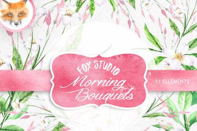 Watercolor Floral Elements,  wedding invitation, valentine, diy clip art, flowers clipart, romantic, pink, jasmine