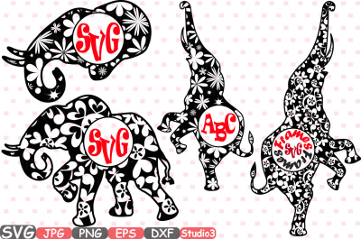 Elephant Circle Mascot v2 Frames Jungle Animal Safari Flower Monogram Cutting Files SVG Silhouette Cricut Design Studio3 cameo zoo dxf 394s
