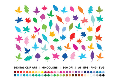 Tree Leaves Silhouette Clip Art Set