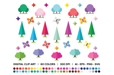 Geometric Magic Forest Clip Art Set