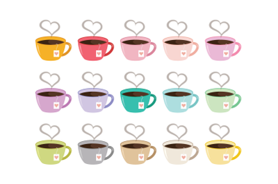 Heart Steam Tea Mug Clip Art Set