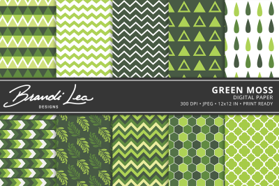 Green Moss Digital Paper Pack