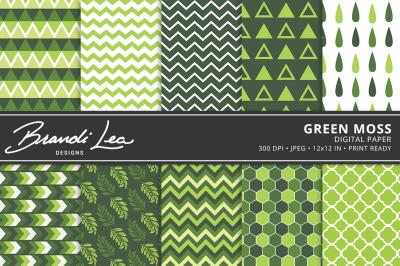 Green Moss Digital Paper Pack
