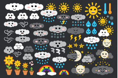 Cute Weather Clip Art Set