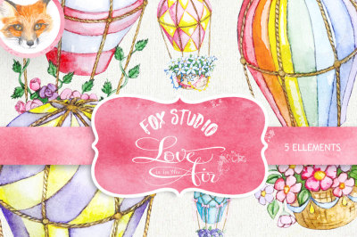 Air Balloons Romantic Wedding Digital, Watercolor Valentine Love Digital, Valentine Background Paper Pack, Watercolor Flowers Digital