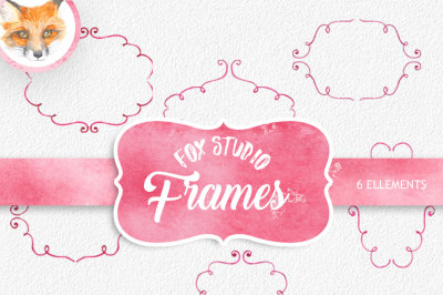 Watercolor Cliparts Frames and Ribbons Pink Green Digital cliparts for branding and scrapbooking