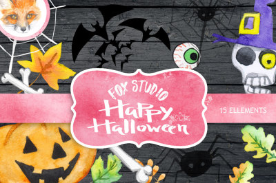 Halloween watercolor clipart, Pumpkin, Autumn leaves, wooden sign, fall, holiday, party, skull, spider, hand painted, DIY, greeting card