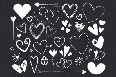 Chalkboard Hearts Clip Art Set