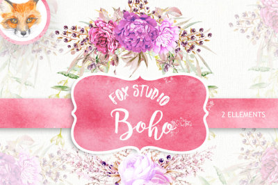 Boho Watercolor Clipart Set