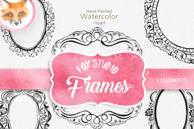 Digital Download Watercolor Cliparts Frames Flourish Digital cliparts for branding and scrapbooking Vintage Wedding Design
