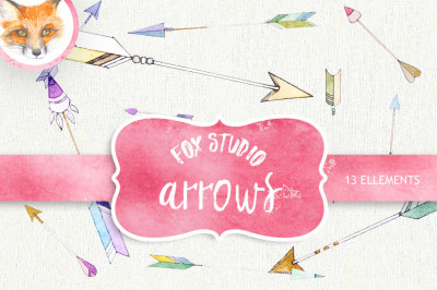 Arrow Clipart. Painted Watercolor Clipart. Hearts and Arrows. Handdraw