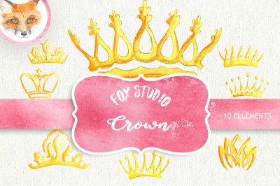 Watercolor Crown. Clipart Elements. Queen King Princess Golden Royalty. Handpainted Invitations, Greeting Card, Wedding invite, DIY
