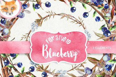 Watercolor clipart, blueberry clipart, clip art wreath, Watercolor Clip Art, digital scrapbook, wedding clipart, wreath clipart, diy crafts