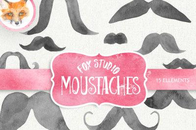 Mustache watercolor clipart, moustache printable,  french mustache, moustache art, digital clipart, hand painted clipart, INSTANT DOWNLOAD