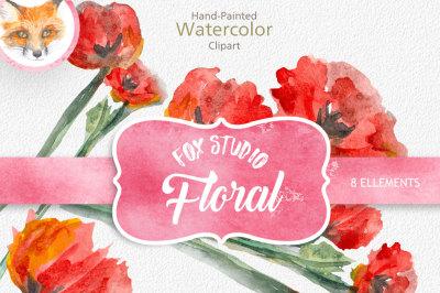 Carnation Clipart, Carnation Digital Image, Carnation PNG, Vintage Illustration, Watercolor, Digital Artwork - INSTANT DOWNLOAD