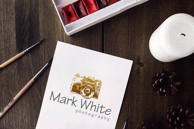 Instant Download Logo - Watercolor Camera Logo - Photography Logo - Gold Logo - DIY Logo