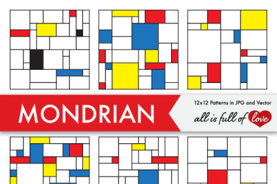 Piet Mondrian Digital Paper Pack Geometric Abstraction Background Patterns