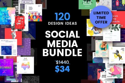 120 in 1 Social Media Templates Bundle