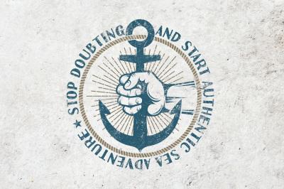Anchor in hand retro logo