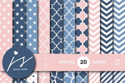 Pink and jeans blue digital paper, MI-521
