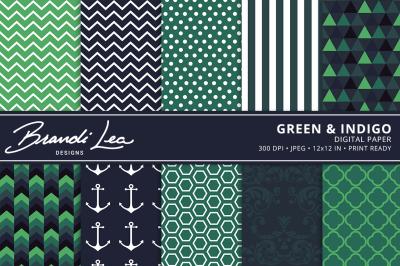 Green & Indigo Digtal Paper Pack