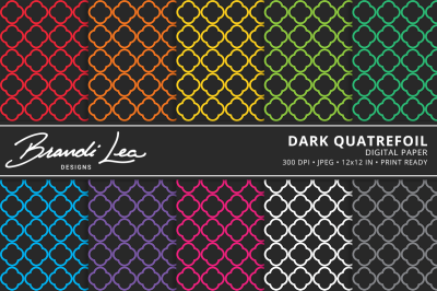 Dark Quatrefoil Digital Paper Pack