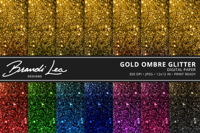 Gold Ombre Glitter Digital Paper Pack