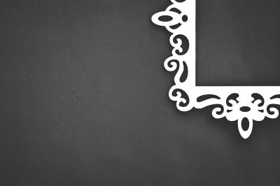 White Ornate Frame on Black Background
