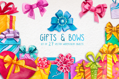 Watercolor Gifts and Bows.