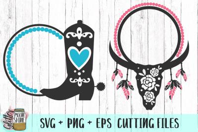 Southern Monogram Frame Bundle SVG PNG EPS Cutting Files