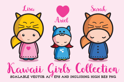 Kawaii Girls Collection - Vector and PNG
