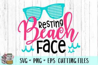 Resting Beach Face SVG PNG EPS Cutting Files