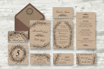 Wedding Vector Invitations Suite