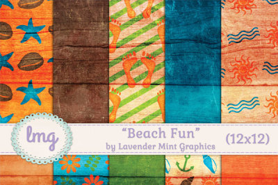 Beach Fun Digital Scrapbook Paper