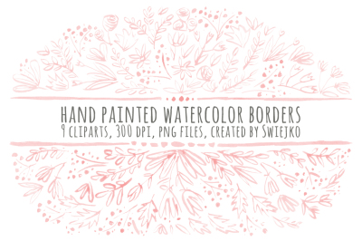 Hand painted floral borders - pink set