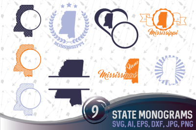 9 Monograms with Mississippi - cutting files, SVG, PNG, JPG, EPS, AI, DXF