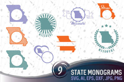 9 Monograms with Missouri - cutting files, SVG, PNG, JPG, EPS, AI, DXF