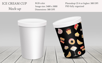Ice cream cup mockup. Package mockup.